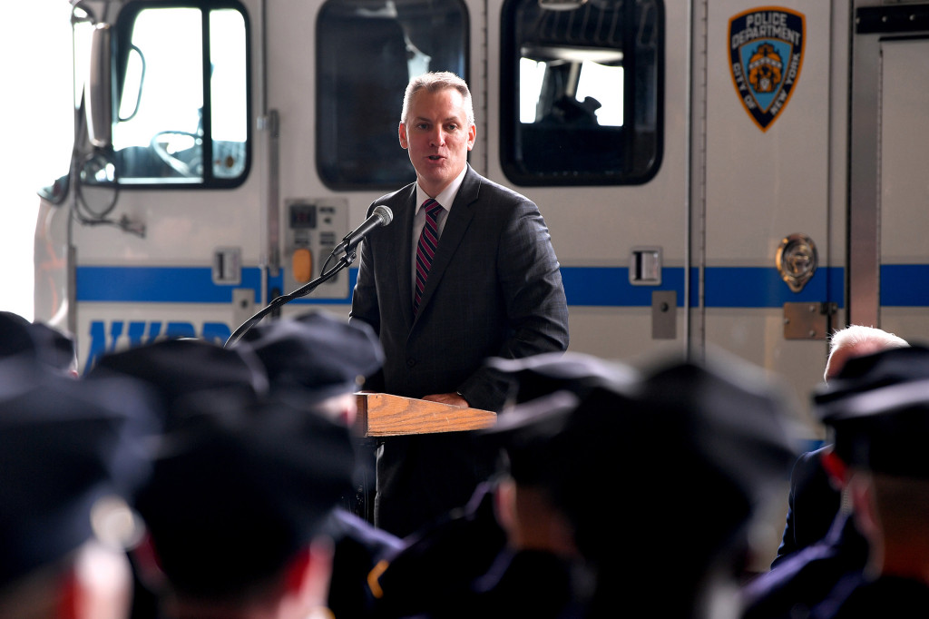 NYPD commissioner Dermot Shea flouted his own rule about wearing a mask in large groups of people.